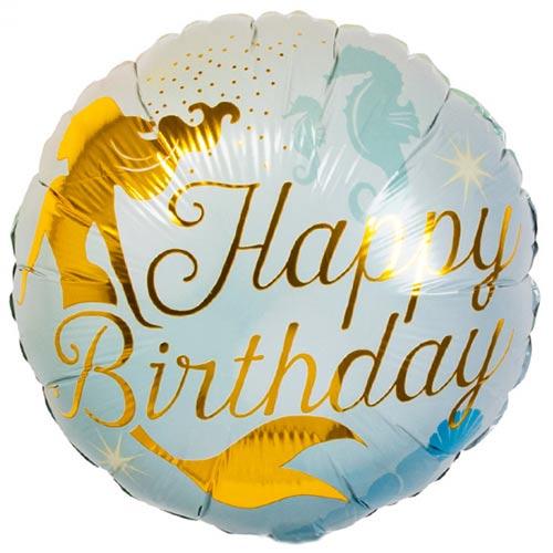 Happy Birthday Mermaid Round Foil Helium Balloon 45cm / 18 in Product Image