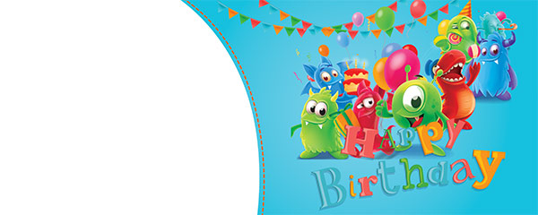 Happy Birthday Monsters Design Small Personalised Banner – 4ft x 2ft