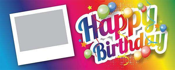Happy Birthday Multicoloured Design Medium Personalised Banner – 6ft x 2.25ft