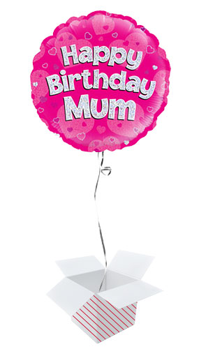 Happy Birthday Mum Pink Holographic Round Foil Helium Balloon - Inflated Balloon in a Box Product Image