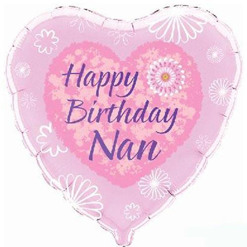 Happy Birthday Nan Heart Foil Helium Balloon 46cm / 18 in Product Image