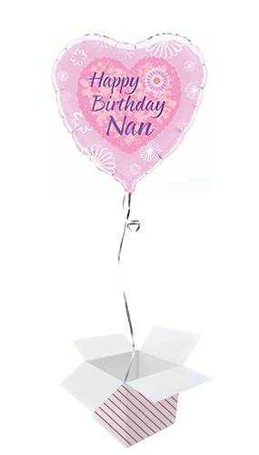 Happy Birthday Nan Heart Foil Helium Balloon - Inflated Balloon in a Box Product Image