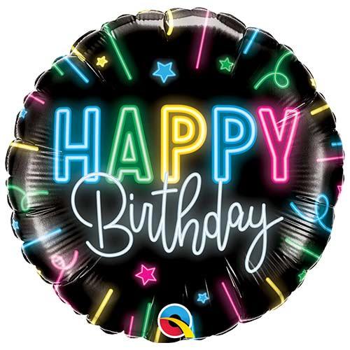 Happy Birthday Neon Glow Round Foil Helium Qualatex Balloon 46cm / 18 in Product Image