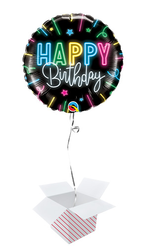 Happy Birthday Neon Glow Round Foil Helium Qualatex Balloon - Inflated Balloon in a Box Product Image