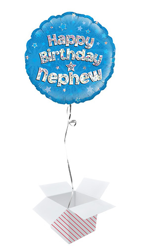 Happy Birthday Nephew Holographic Round Foil Helium Balloon - Inflated Balloon in a Box Product Image