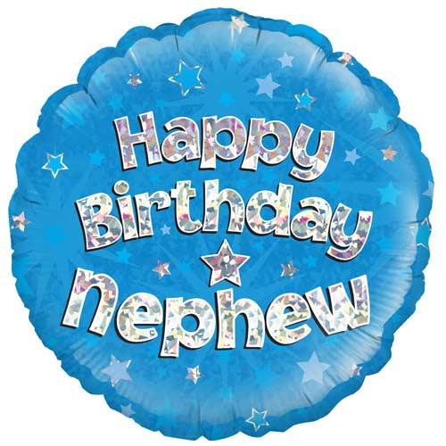 Happy Birthday Nephew Holographic Round Foil Helium Balloon 46cm / 18 in Product Image