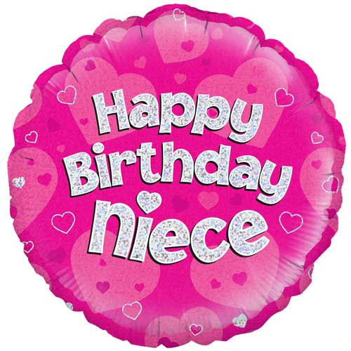 Happy Birthday Niece Holographic Round Foil Helium Balloon 46cm / 18 in Product Image