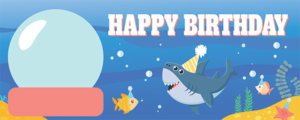 Happy Birthday Ocean Design Small Personalised Banner – 4ft x 2ft
