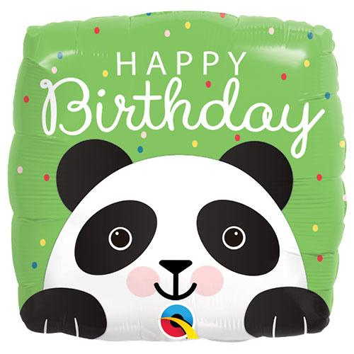 Happy Birthday Panda Square Foil Helium Qualatex Balloon 46cm / 18 in Product Image