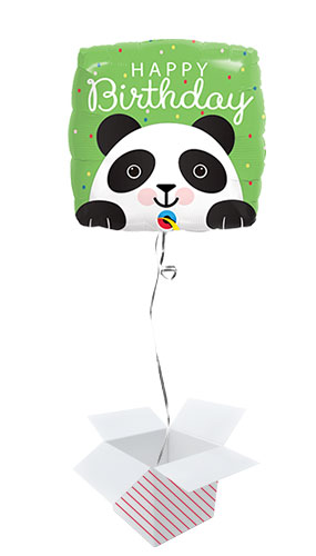 Happy Birthday Panda Square Foil Helium Qualatex Balloon - Inflated Balloon in a Box Product Image