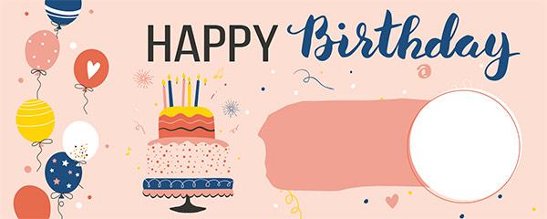 Happy Birthday Pink Design Medium Personalised Banner – 6ft x 2.25ft