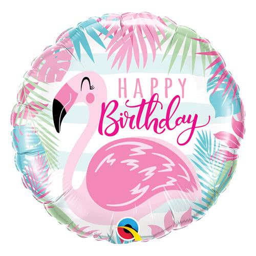 Happy Birthday Pink Flamingo Helium Foil Qualatex Balloon 46cm / 18Inch Product Image