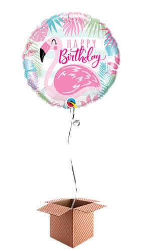 Happy Birthday Pink Flamingo Helium Foil Qualatex Balloon - Inflated Balloon in a Box