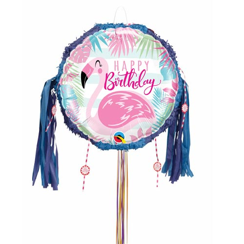 Happy Birthday Pink Flamingo Pull String Pinata