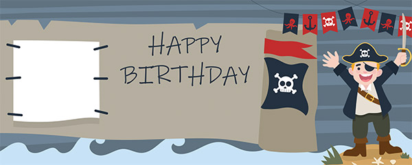 Happy Birthday Pirates Design Small Personalised Banner – 4ft x 2ft