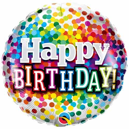 Happy Birthday Rainbow Confetti Round Foil Helium Qualatex Balloon 46cm / 18 in Product Image