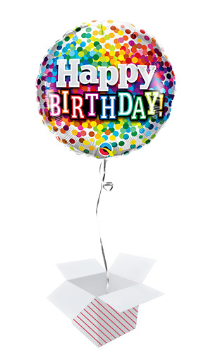 Happy Birthday Rainbow Confetti Round Foil Helium Qualatex Balloon - Inflated Balloon in a Box