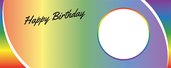 Happy Birthday Rainbow Ombre Design Medium Personalised Banner – 6ft x 2.25ft