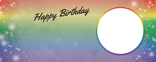 Happy Birthday Rainbow Sparkles Design Small Personalised Banner – 4ft x 2ft