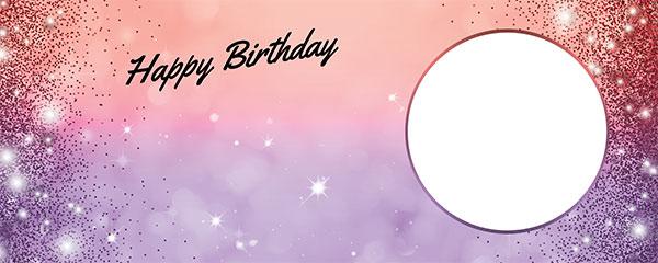 Happy Birthday Sparkles Red Purple Design Medium Personalised Banner – 6ft x 2.25ft