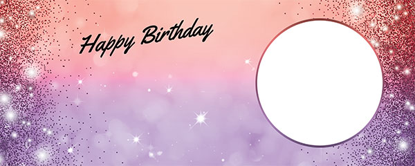 Happy Birthday Sparkles Red Purple Design Small Personalised Banner – 4ft x 2ft