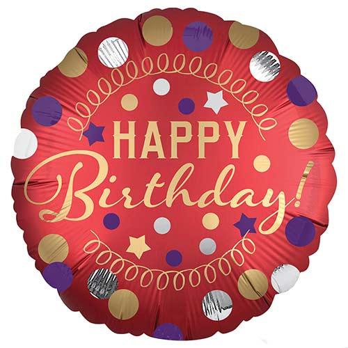 Happy Birthday Red Satin Round Foil Helium Balloon 45cm / 18 in