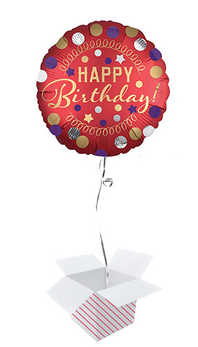 Happy Birthday Red Satin Round Foil Helium Balloon - Inflated Balloon in a Box Product Image