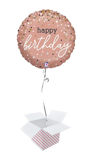 Happy Birthday Rose Gold Confetti Holographic Round Foil Helium Balloon - Inflated Balloon in a Box Product Image