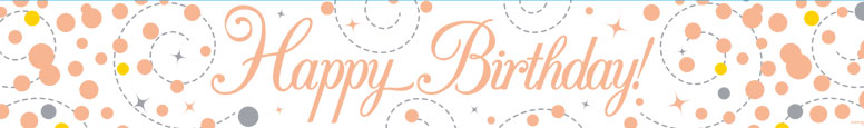 Happy Birthday Rose Gold Holographic Foil Banner 2.7m
