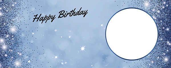 Happy Birthday Sparkles Royal Blue Design Medium Personalised Banner – 6ft x 2.25ft