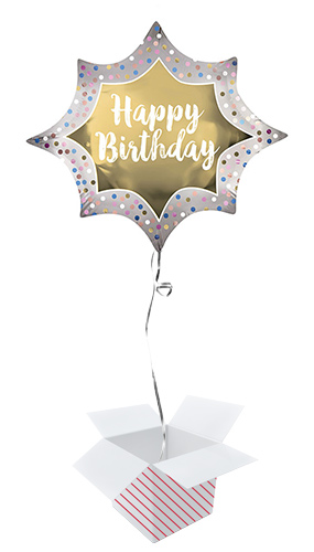 Happy Birthday Satin Gold Burst Helium Foil Giant Balloon - Inflated Balloon in a Box