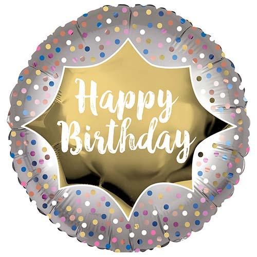 Happy Birthday Satin Luxe Gold Burst Round Foil Helium Balloon 45cm / 18 in