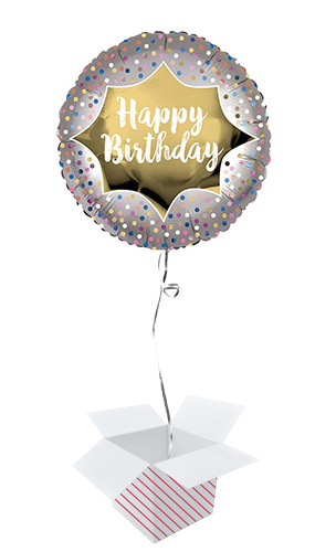 Happy Birthday Satin Gold Burst Round Foil Helium Balloon - Inflated Balloon in a Box Product Image