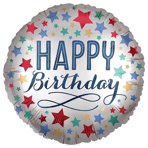 Happy Birthday Satin Stars Round Foil Helium Balloon 45cm / 18 in