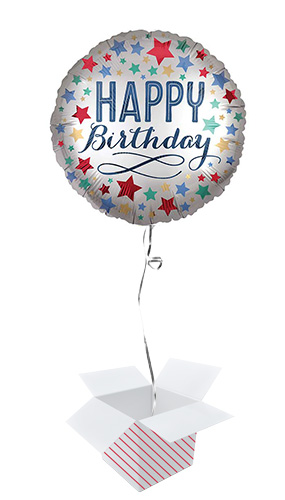 Happy Birthday Satin Stars Round Foil Helium Balloon - Inflated Balloon in a Box Product Image