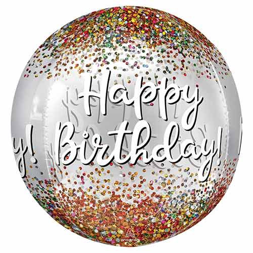Happy Birthday Sequins Clear Orbz Foil Helium Balloon 38cm / 15 in