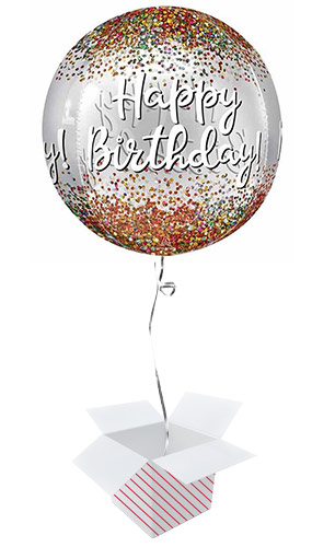Happy Birthday Sequins Clear Orbz Foil Helium Balloon - Inflated Balloon in a Box Product Image