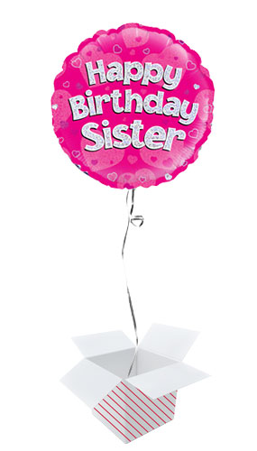 Happy Birthday Sister Pink Holographic Round Foil Helium Balloon - Inflated Balloon in a Box Product Image