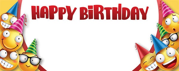 Happy Birthday Smiley Faces Design Medium Personalised Banner – 6ft x 2.25ft