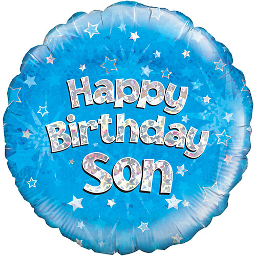 Happy Birthday Son Blue Holographic Round Foil Helium Balloon 46cm / 18Inch Product Image