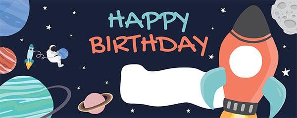 Happy Birthday Space Design Medium Personalised Banner – 6ft x 2.25ft
