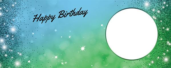 Happy Birthday Sparkles Blue Green Design Medium Personalised Banner – 6ft x 2.25ft