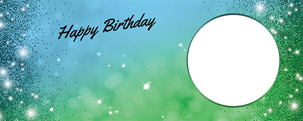 Happy Birthday Sparkles Blue Green Design Small Personalised Banner – 4ft x 2ft