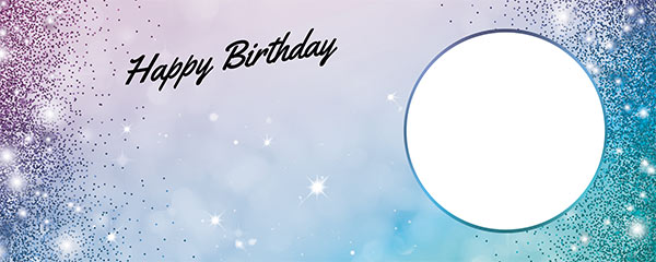 Happy Birthday Sparkles Blue Pink Design Medium Personalised Banner – 6ft x 2.25ft