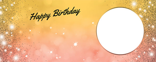 Happy Birthday Sparkles Gold Pink Design Medium Personalised Banner – 6ft x 2.25ft