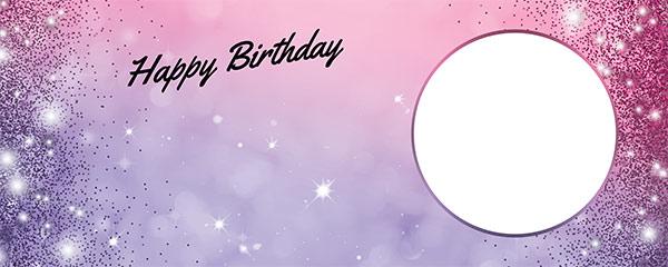 Happy Birthday Sparkles Pink Purple Design Medium Personalised Banner – 6ft x 2.25ft