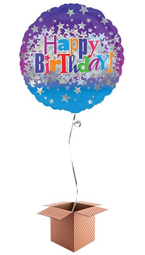 Happy Birthday Stars Round Foil Balloon - Inflated Balloon in a Box Product Image