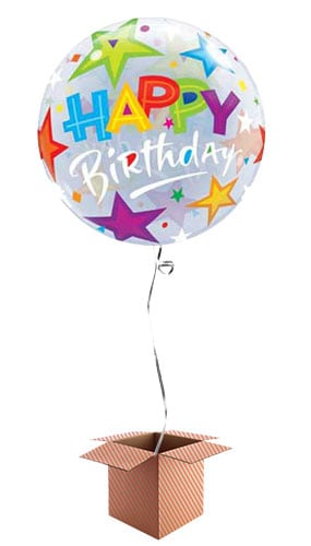 Happy Birthday Stars Bubble Helium Qualatex Balloon - Inflated Balloon in a Box Product Image