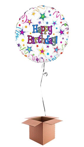 Happy Birthday Stars And Ribbons Round Foil Balloon - Inflated Balloon in a Box Product Image