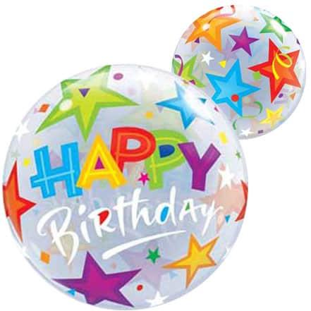 Happy Birthday Stars Bubble Helium Qualatex Balloon 56cm / 22 in Product Image